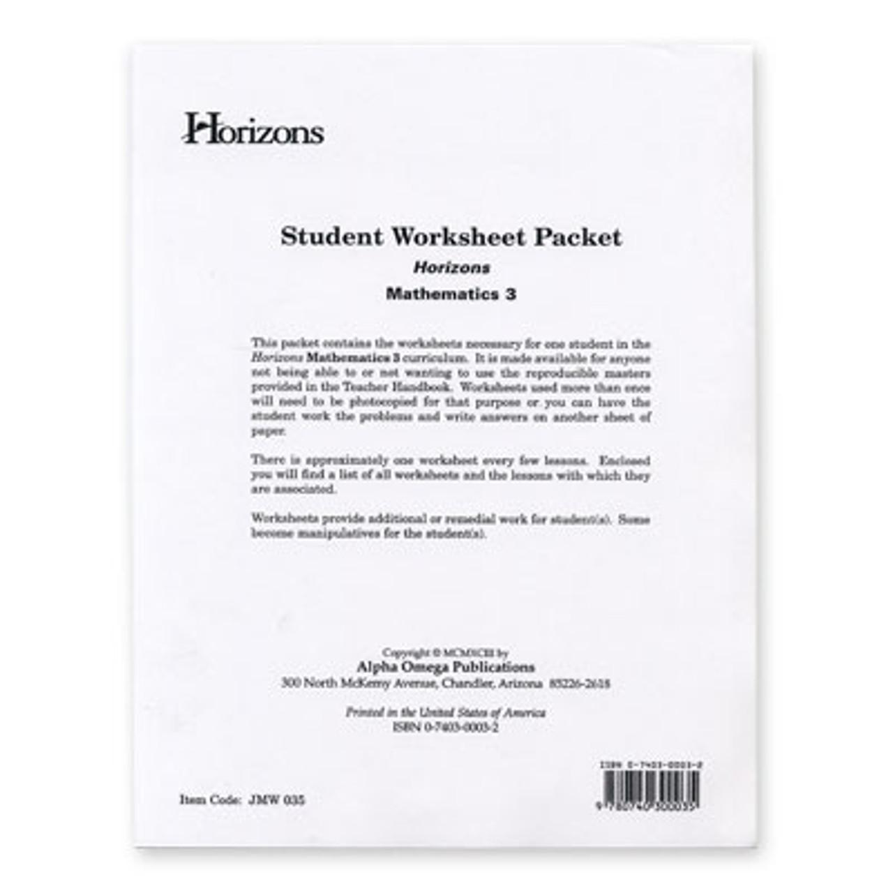 medium resolution of HORIZONS 3rd Grade Math Student Worksheet Packet - All Things New