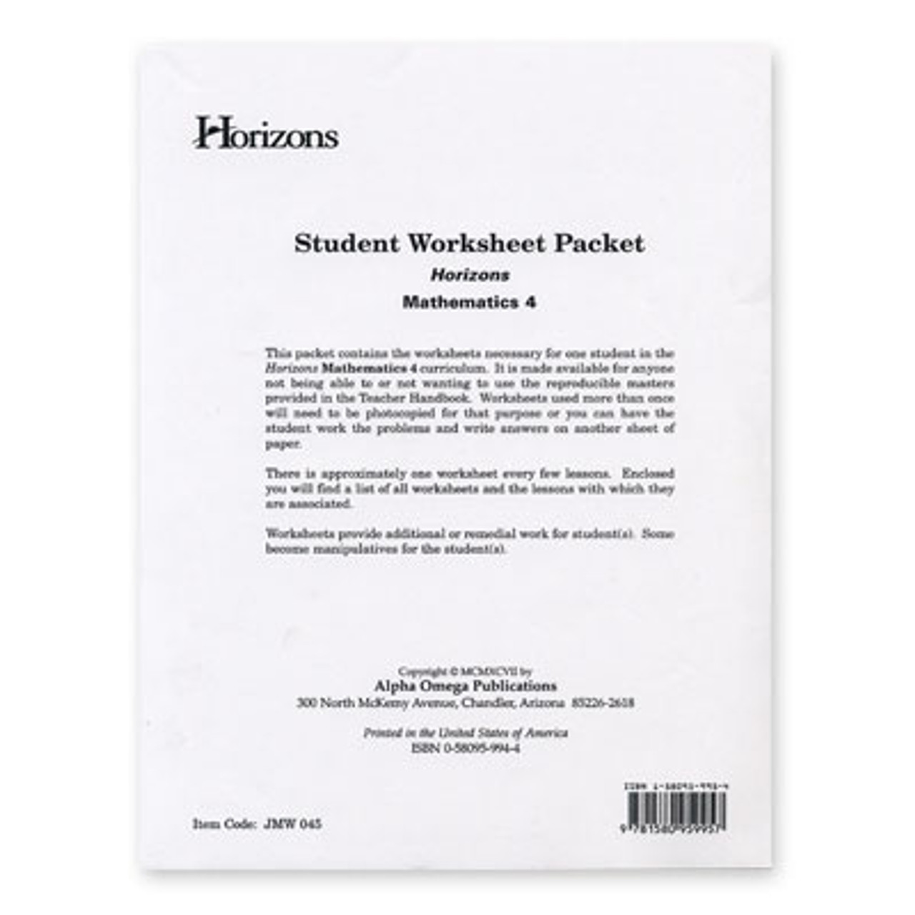 HORIZONS 4th Grade Math Student Worksheet Packet - All Things New [ 1280 x 1280 Pixel ]