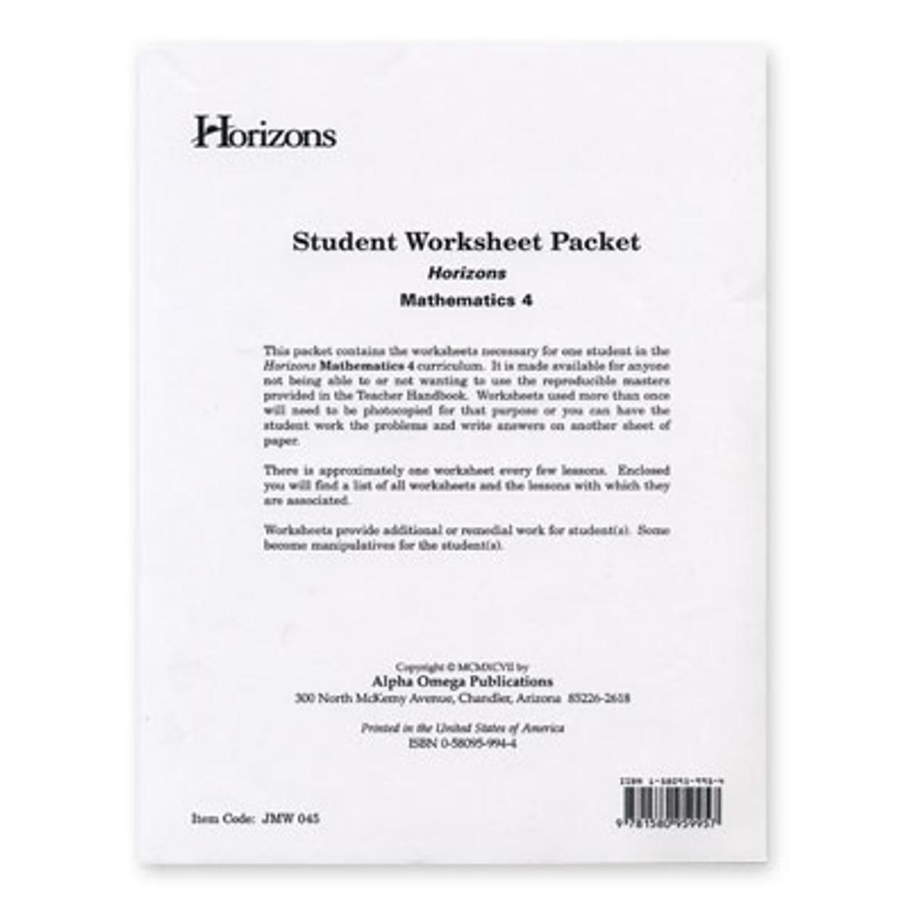 medium resolution of HORIZONS 4th Grade Math Student Worksheet Packet - All Things New