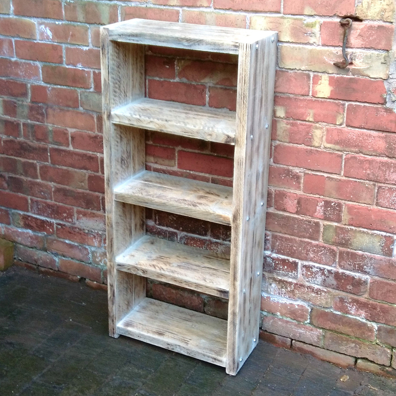 Beautiful 4 Shelve Solid Reclaimed Wood Bookcase Display Or Storage 118x52x22cm