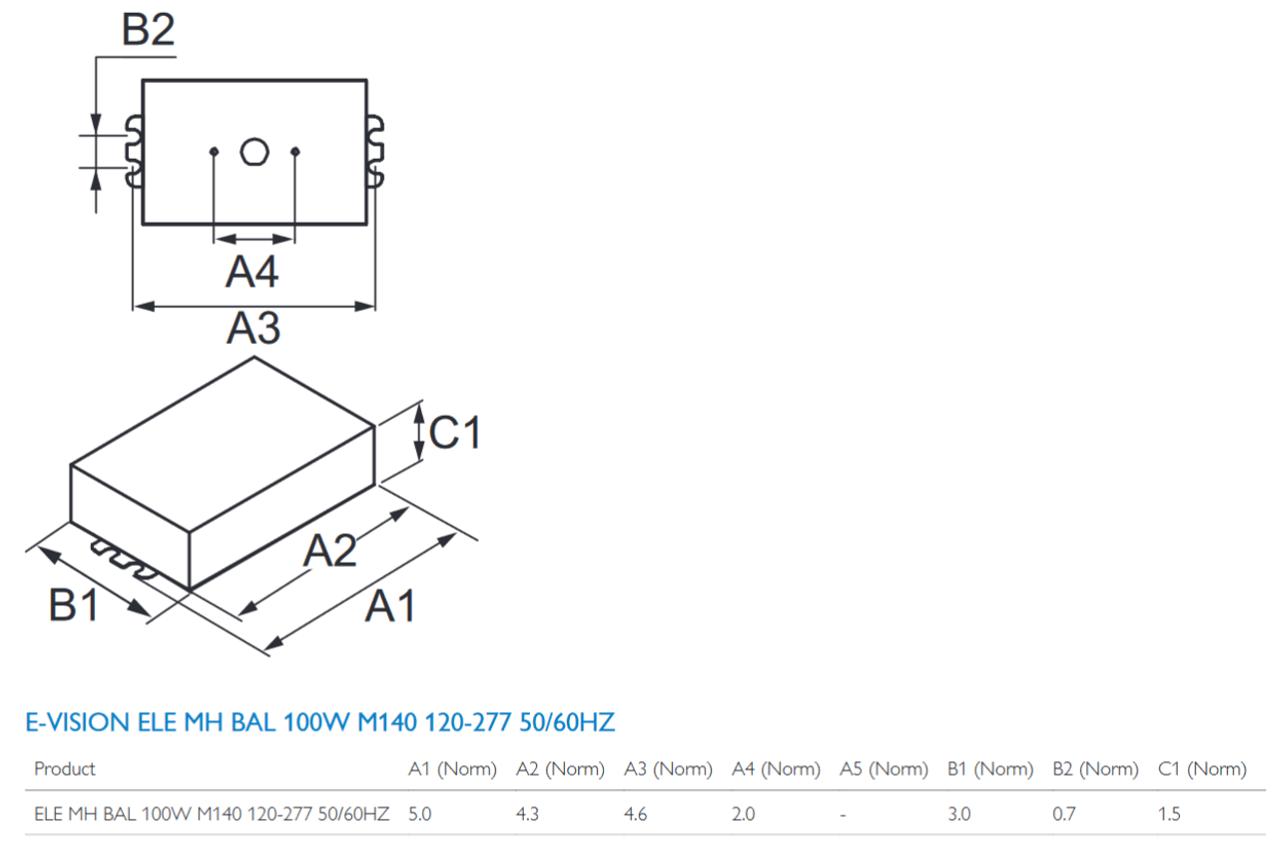 imh 100 d bls m advance 100w electronic metal halide ballast  [ 1245 x 826 Pixel ]