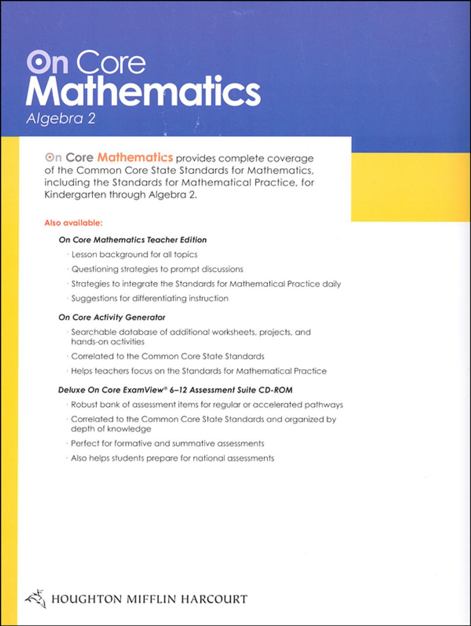 On Core Math - Houghton Mifflin Harcourt - Grade 9-12 Algebra 2 Student  Worktext - Classroom Resource Center [ 1280 x 964 Pixel ]