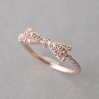 CZ Ribbon Bow Ring Rose Gold - kellinsilver.com