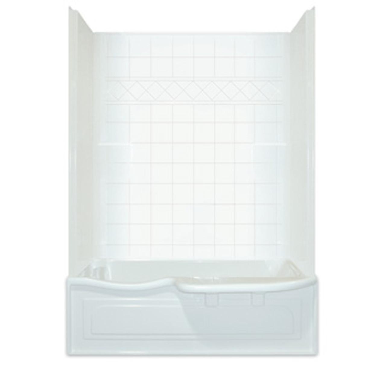 aquarius choose home series reinforced one piece tub shower 60 x 32 x 87 tile pattern cha 6034 ts