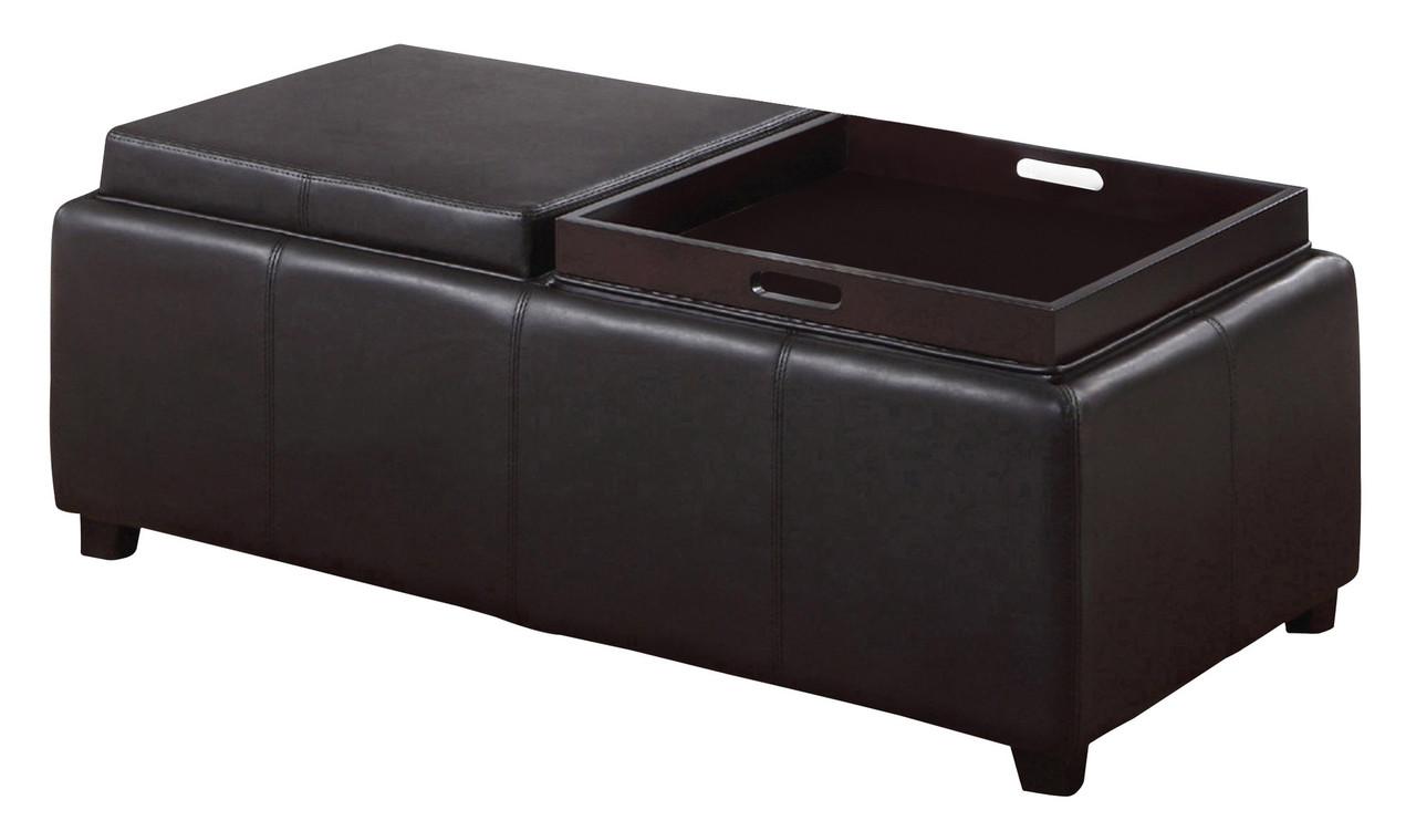 double tray storage ottoman black
