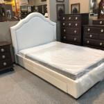 Lino Beige Bedframe W Storage Queen Size