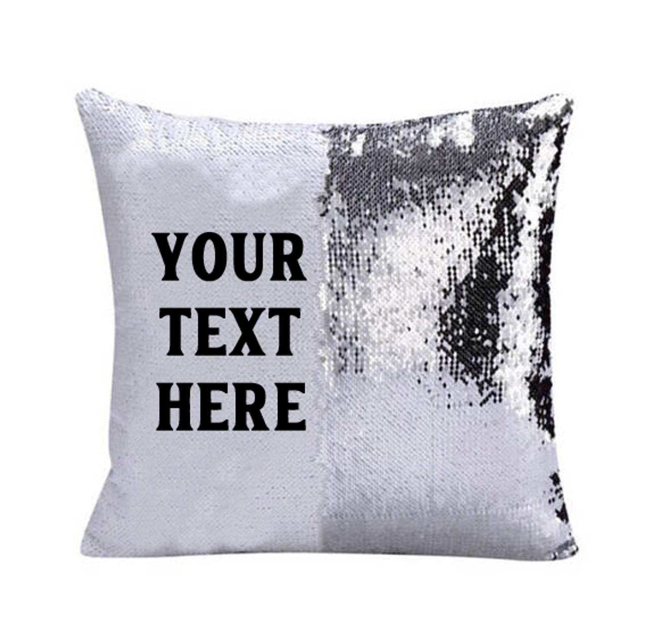 sequin pillow custom text