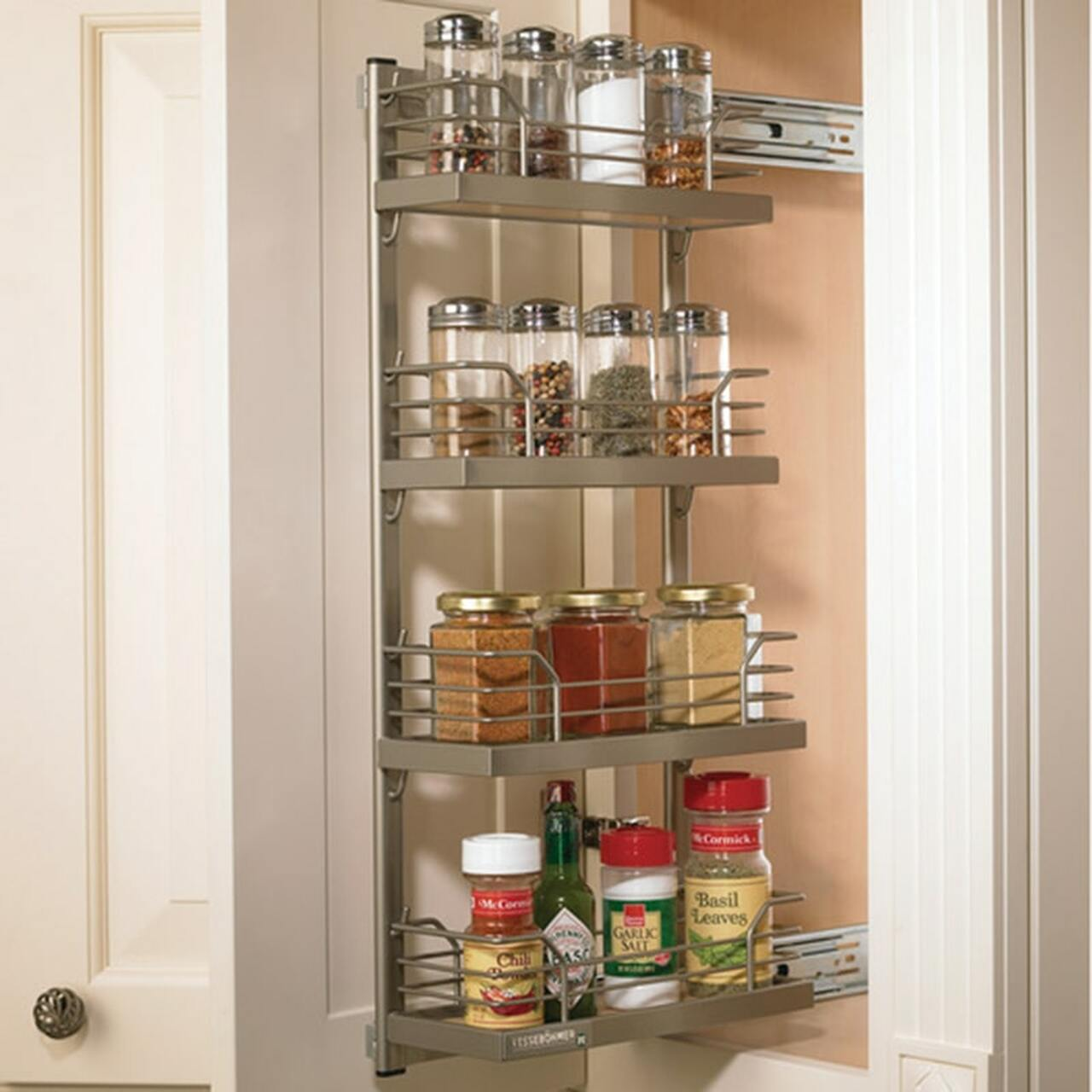 kessebohmer narrow cabinet pull out metal frame spice rack