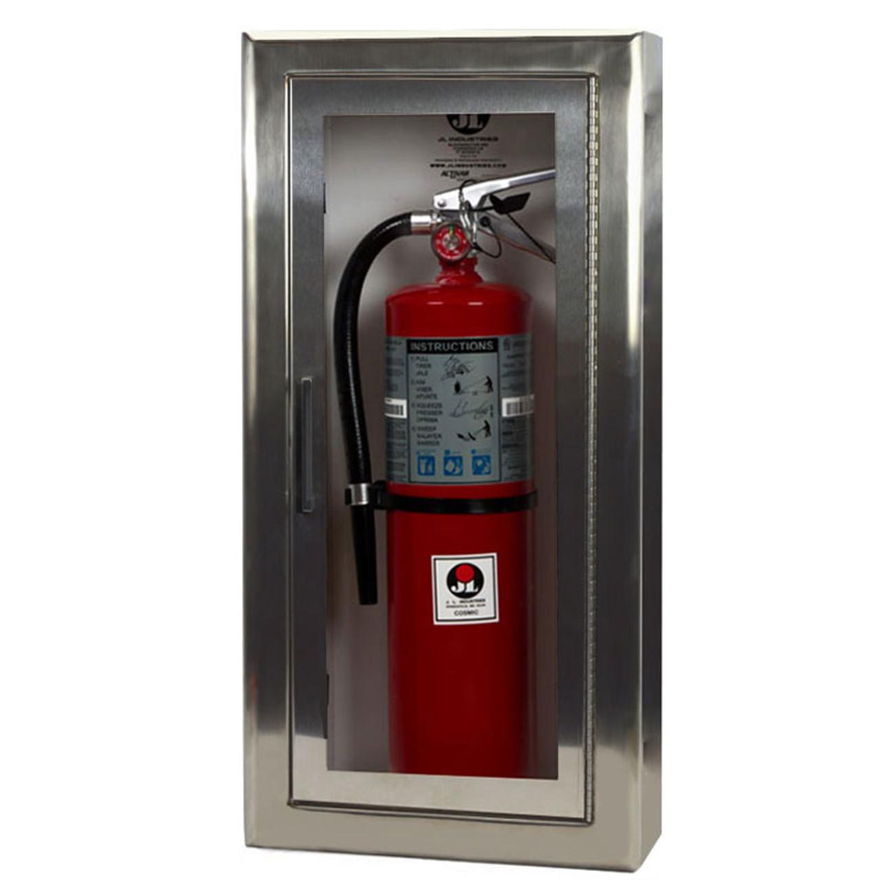 Semi Recessed Stainless Steel Fire Extinguisher Cabinet Cosmopolitan Jl Industries