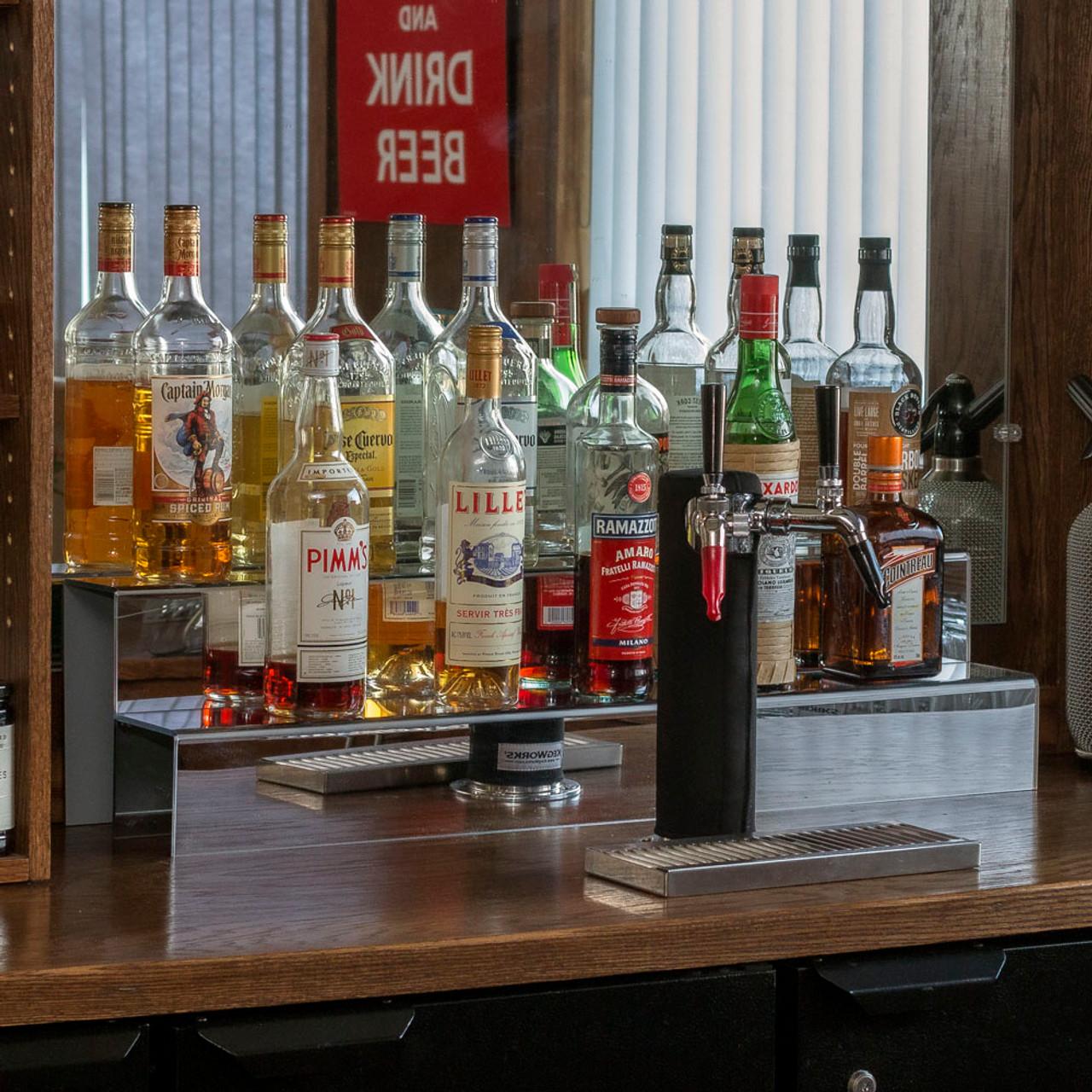kegworks 34 inch 2 tier liquor bottle shelf mirror finish