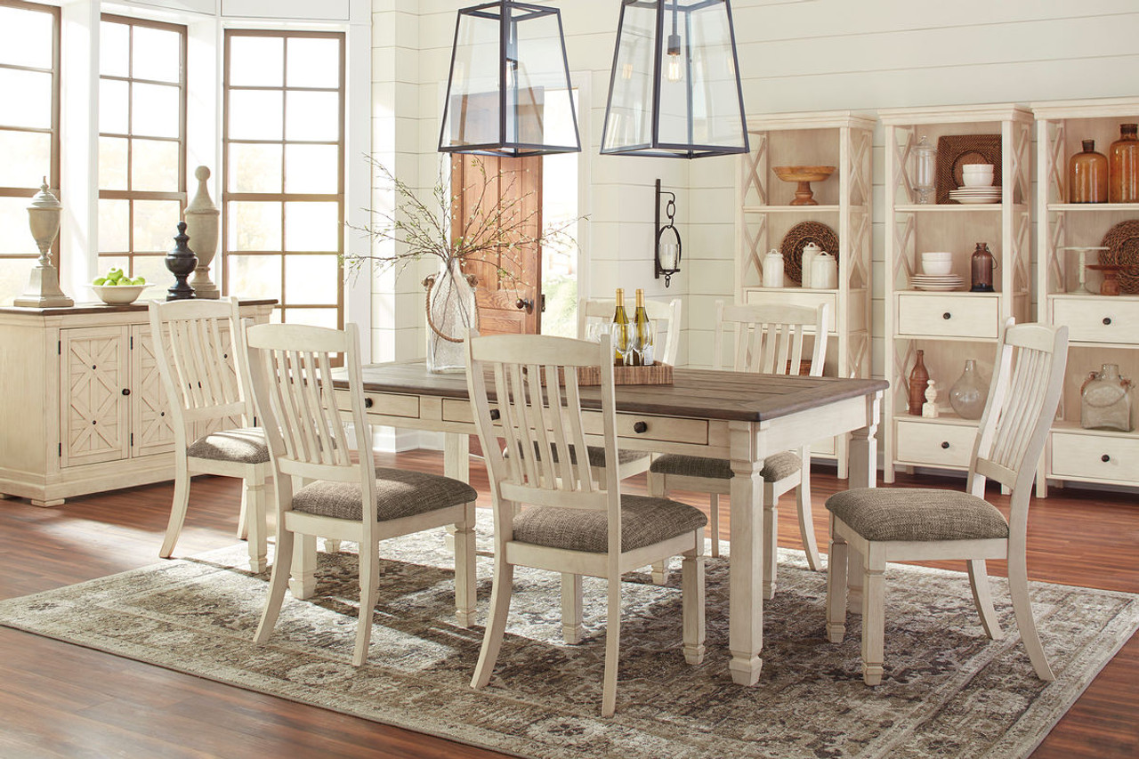 white 6 chair dining table tartan covers for sale the bolanburg antique 11 pc rectangular room upholstered side chairs server 3 display cabinets available at barnett