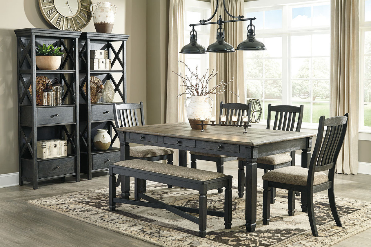 The Tyler Creek Black Gray 8 Pc Rectangular Dining Room Table 4 Uph Side Chairs Uph Bench 2 Display Cabinets Available At Barnett And Swann In Athens Al