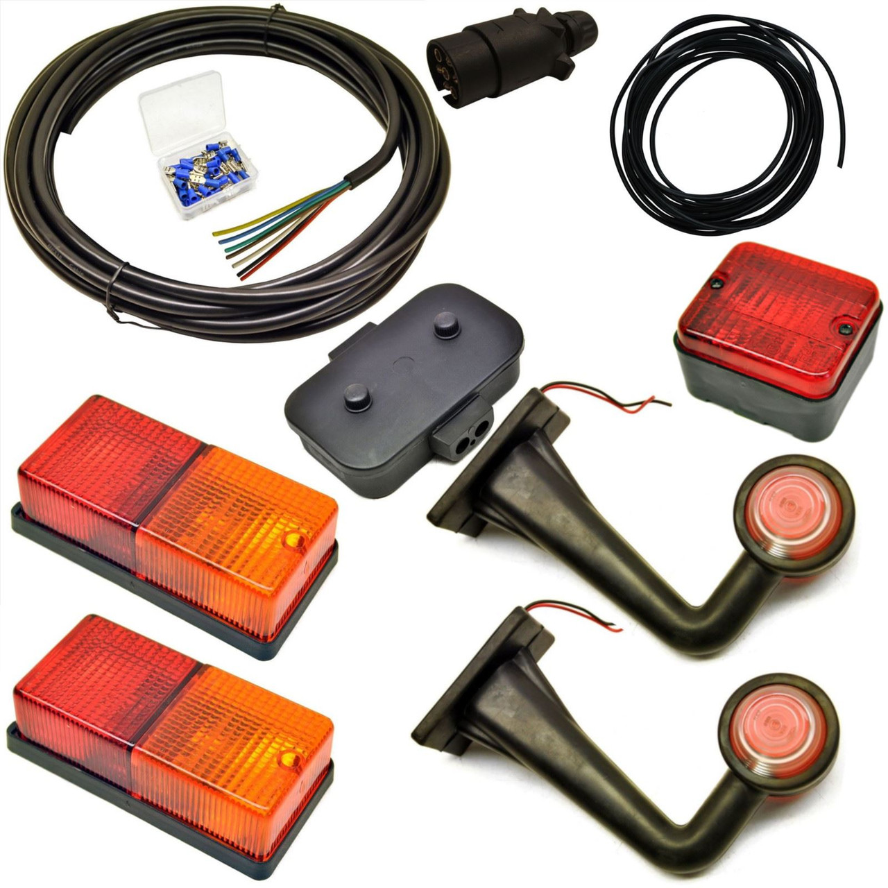 hight resolution of 10m trailer light wiring kit rear lights side front marker plug junction box ab tools online