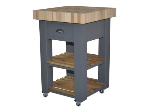kitchen block dark wood cabinets butchers island trolley on wheels castors 60cm by end grain beech