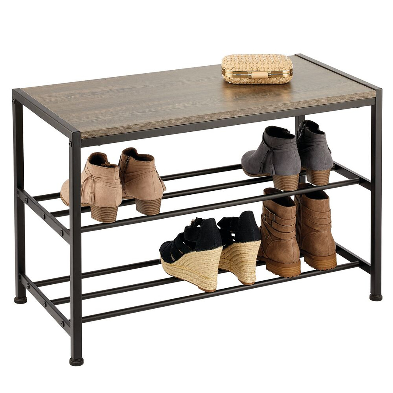 Metal And Wood Entryway Bench With Shoe Storage Black Grey