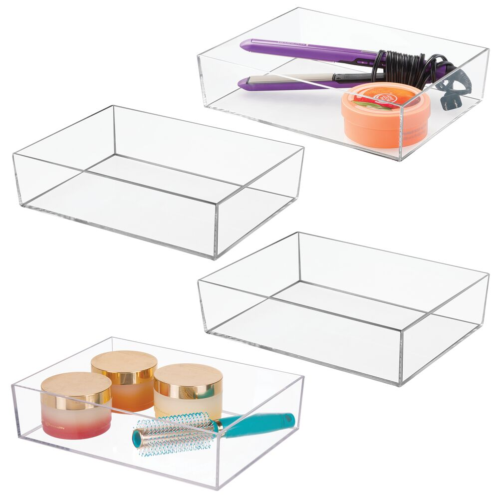 Mdesign Bathroom Vanity Makeup Organizer Tray 12 X 9 X 3 Set Of 4 By Mdesign From Mdesign Daily Mail