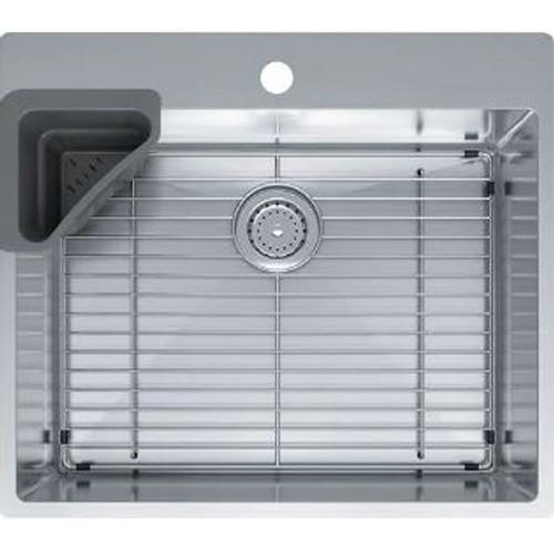 franke vector 25 dual mount single basin 18 gauge stainless steel kitchen sink sink accessories included