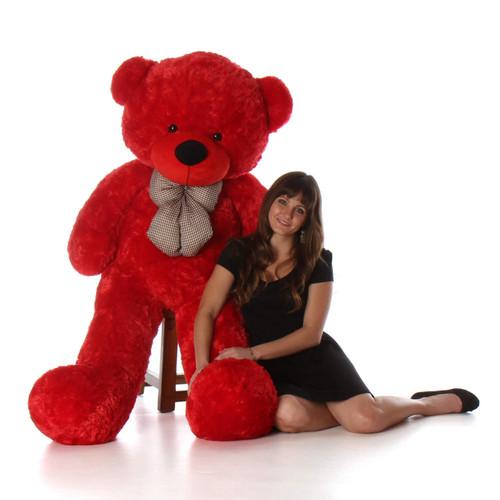 bitsy cuddles soft and huggable jumbo red teddy bear 60in huge teddy bear