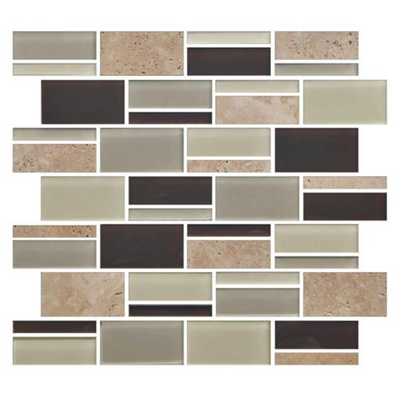 american olean color appeal blends c138 canyon trail blend 3 x random interlocking glass stone mosaic tile sample
