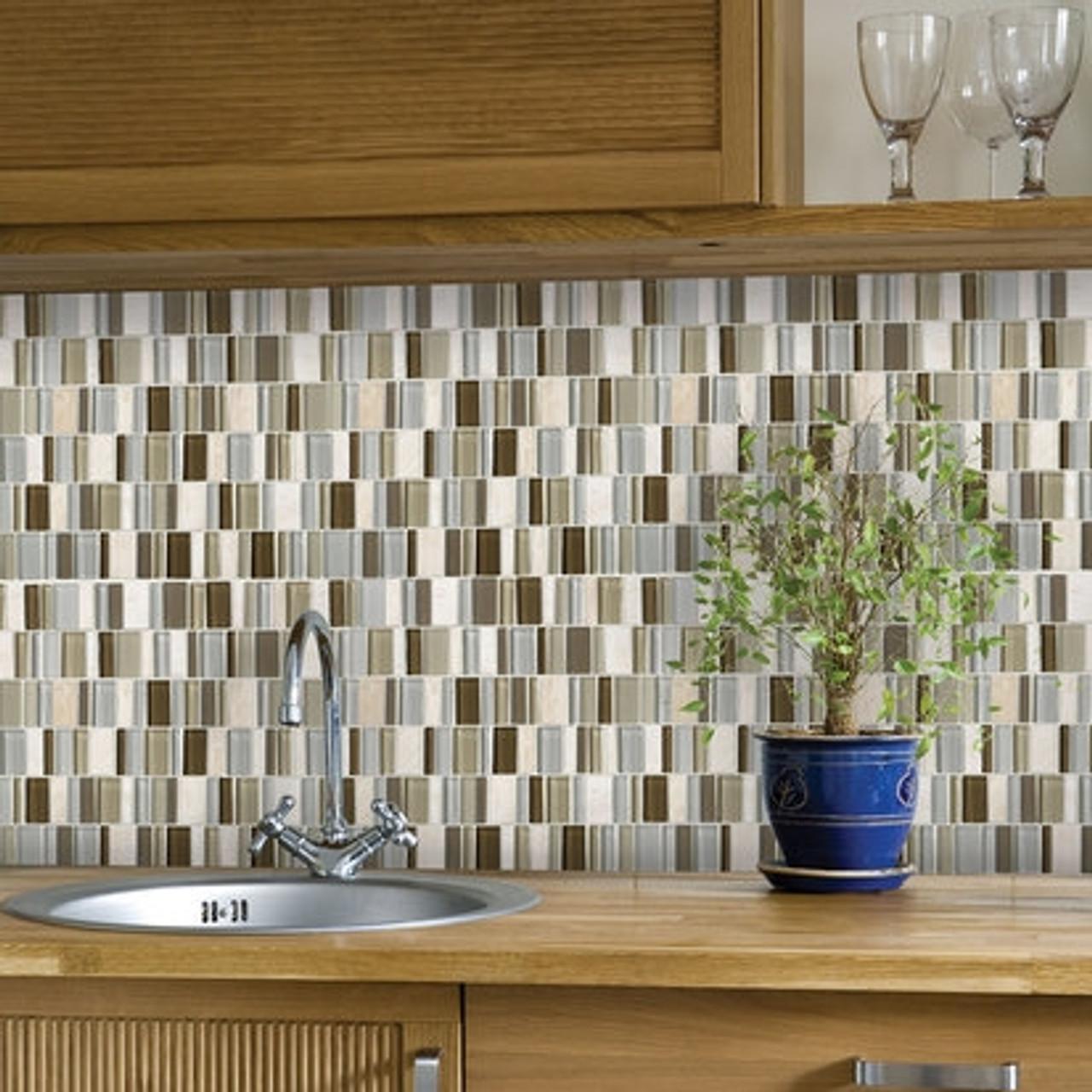 american olean entourage jubilance jb01 bliss blend 2 x random interlocking glass stone mosaic tile