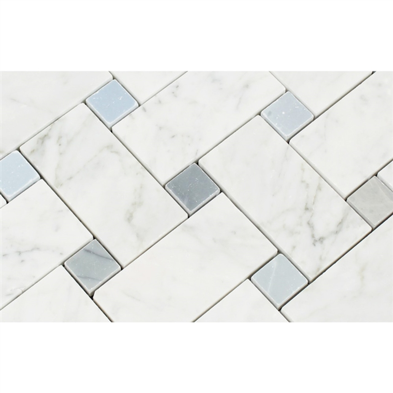 https tilestoreonline com carrara white marble large basketweave pattern mosaic tile blue gray dot polished