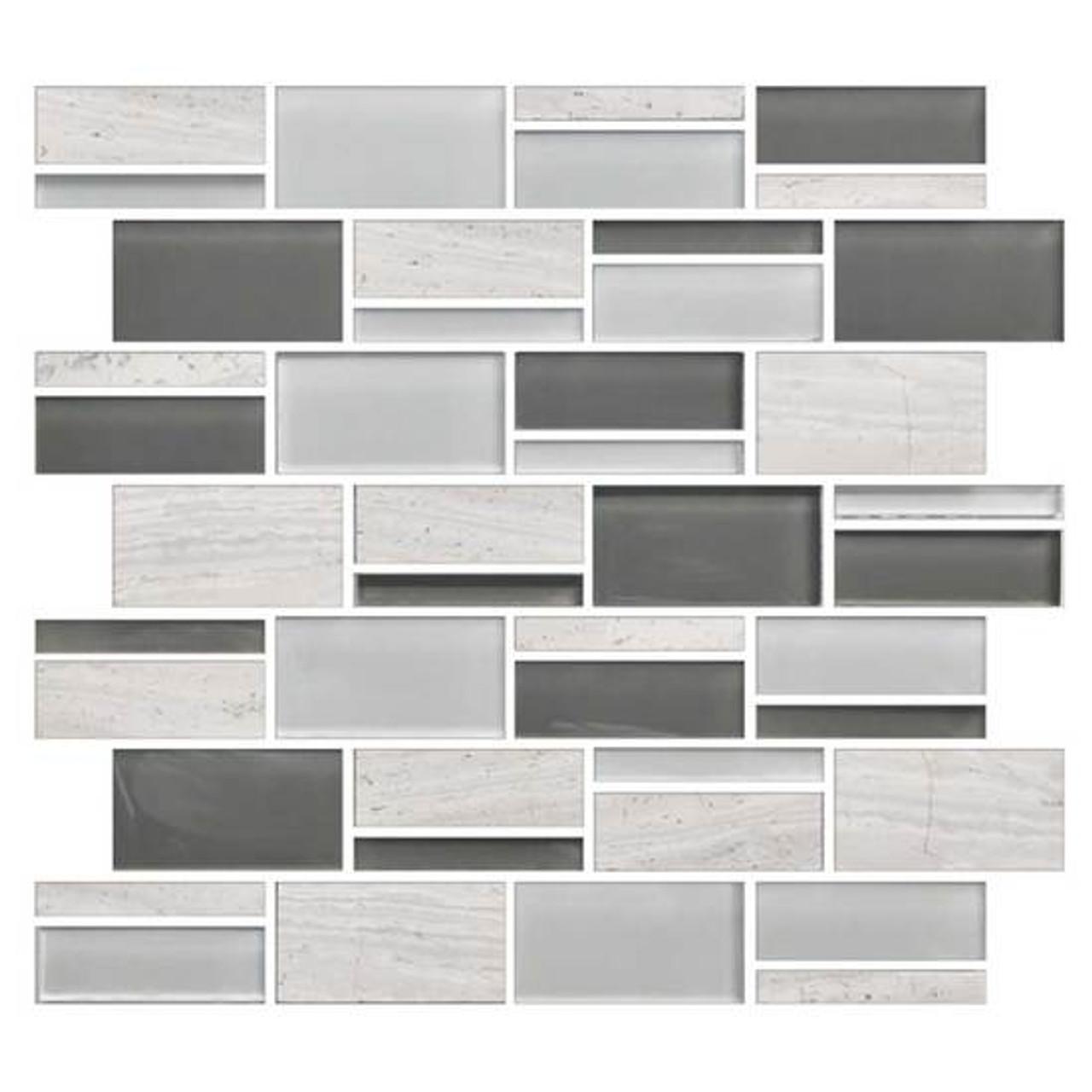american olean color appeal blends c140 mountain morning blend 3 x random interlocking glass stone mosaic tile