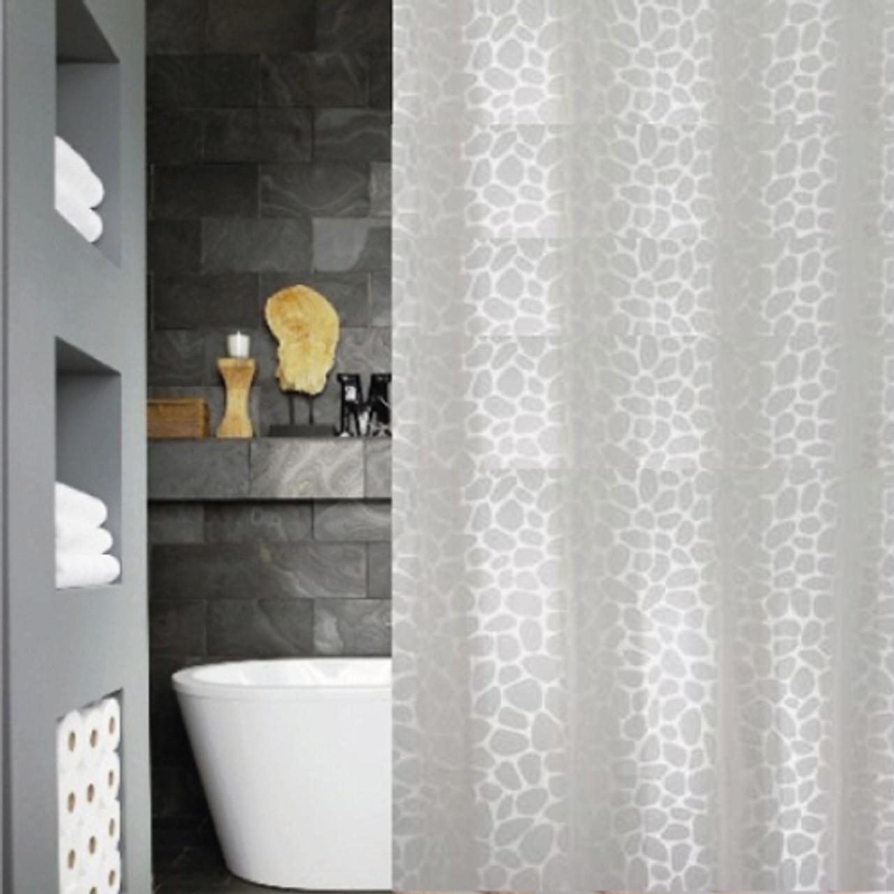 shower curtain set 12 decorative hooks peva vinyl white animal