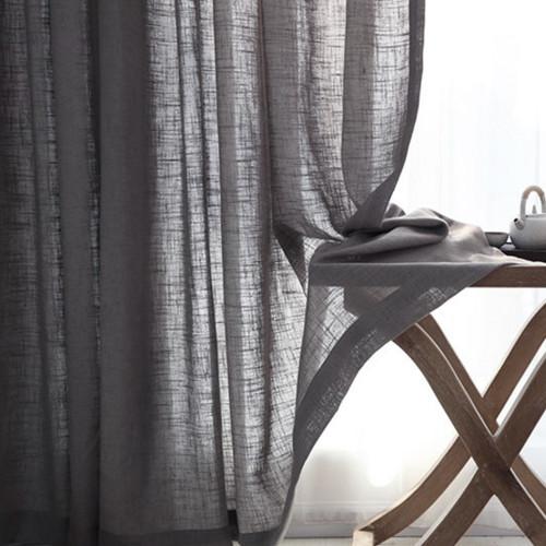 homespun linen look sheer eyelet curtain panel