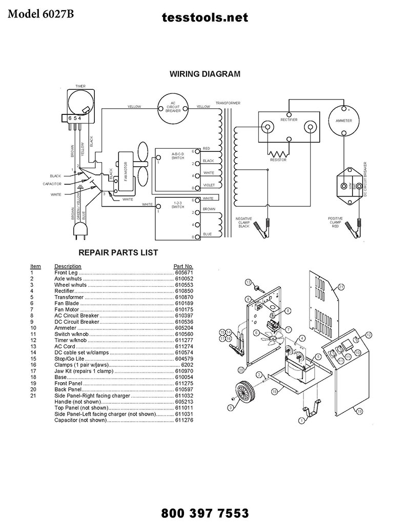 6027B Parts List and Wiring Diagram