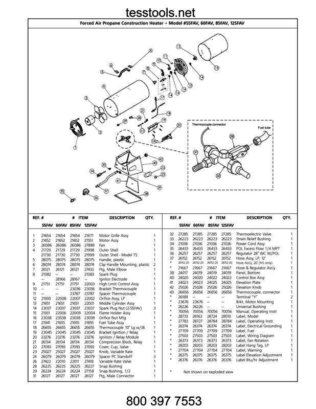 Mr Heater MH60FAV Parts,Parts List and Diagrams