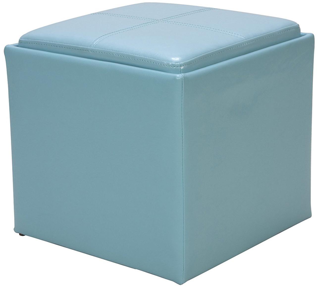 rainy blue storage ottoman
