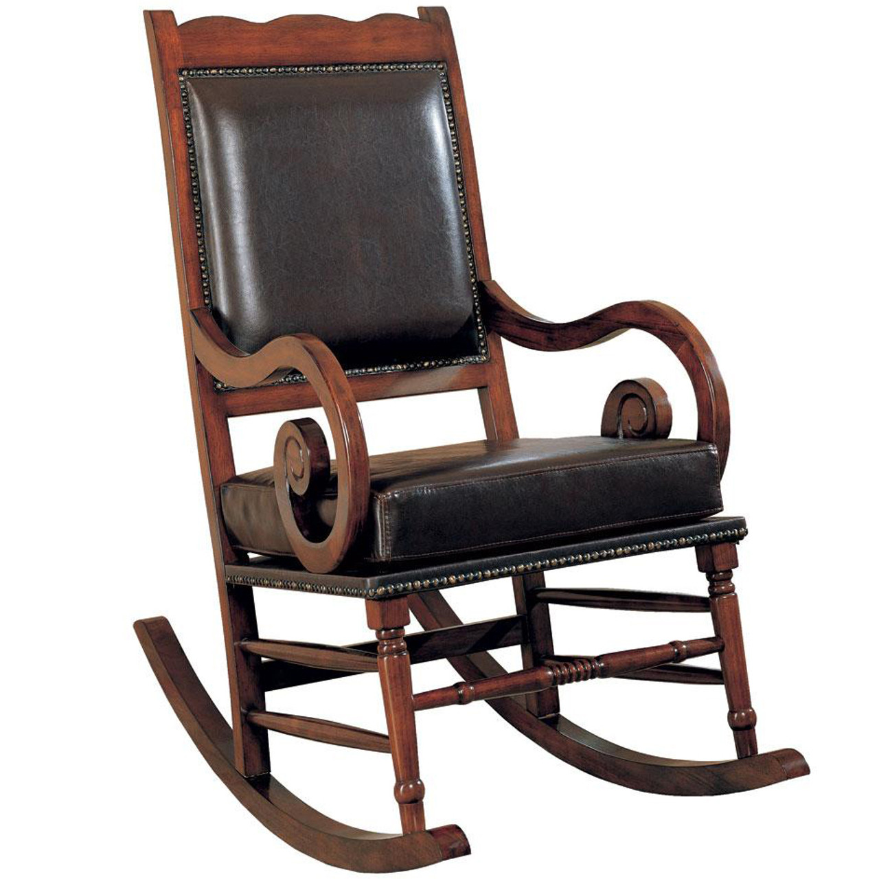 Leather Rocking Chair Raleigh Walnut Upholstered Rocking Chair