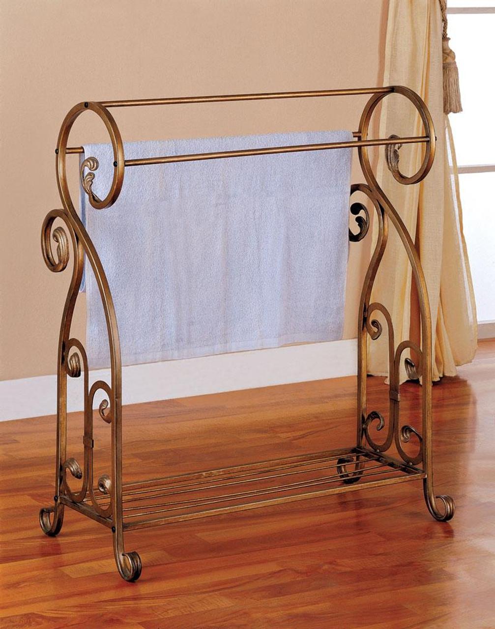 anthony antique gold metal towel quilt rack