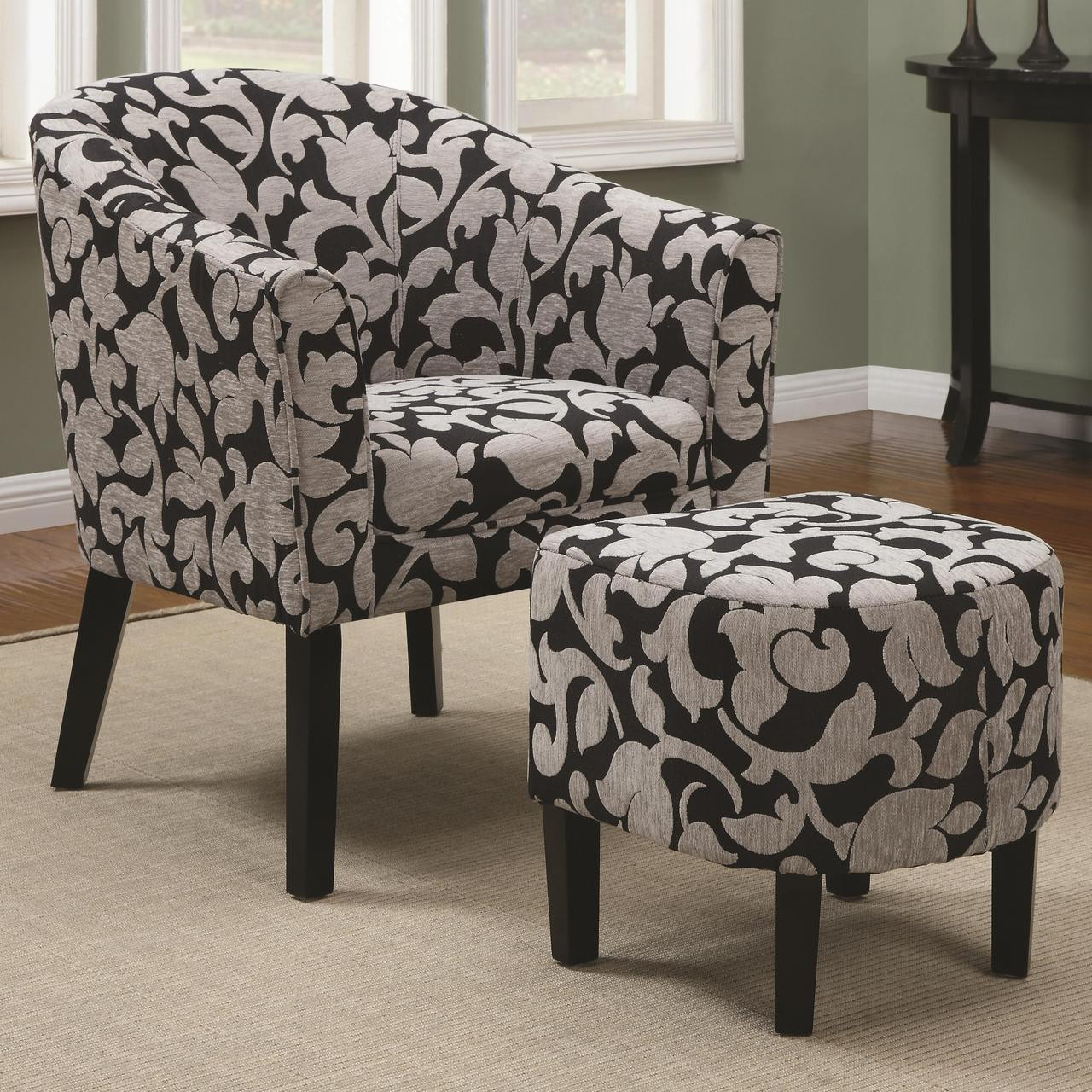 floral arm chair activity desk and set cambria charcoal with ottoman woven fabric cb furniture