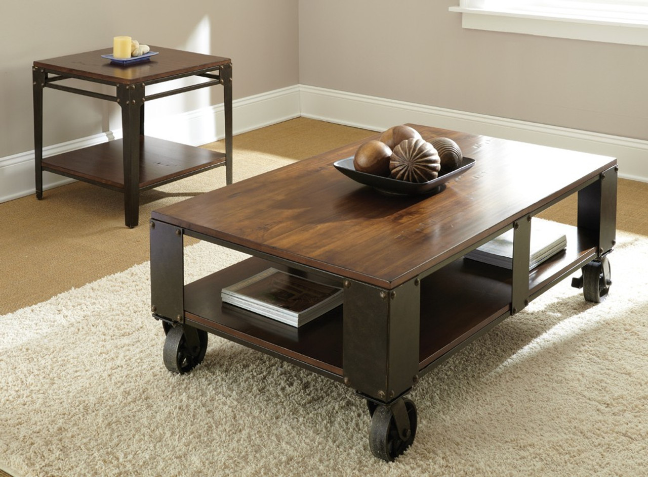 delta brown two tone coffee table with casters