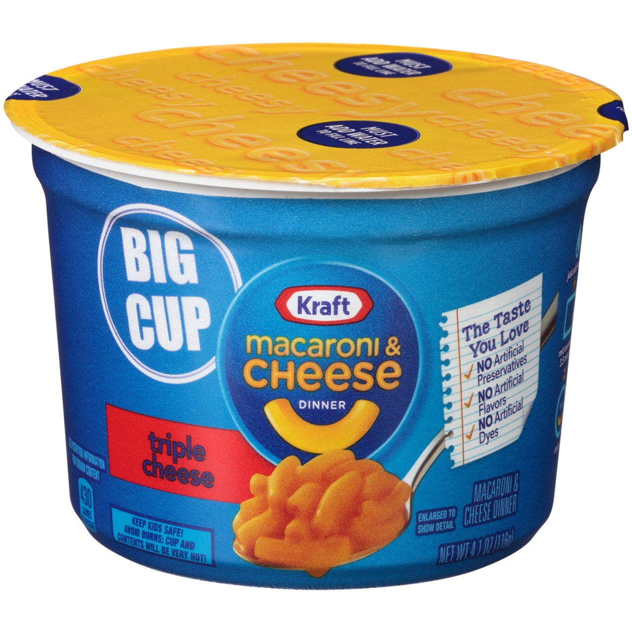 kraft macaroni and cheese triple cheese 4 1 oz big microwavable bowl 1 count