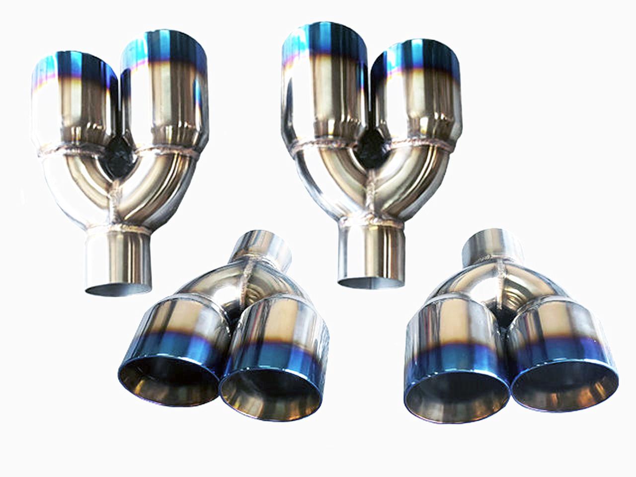 tsudo quad universal 3 5 staggered titanium burnt exhaust tips
