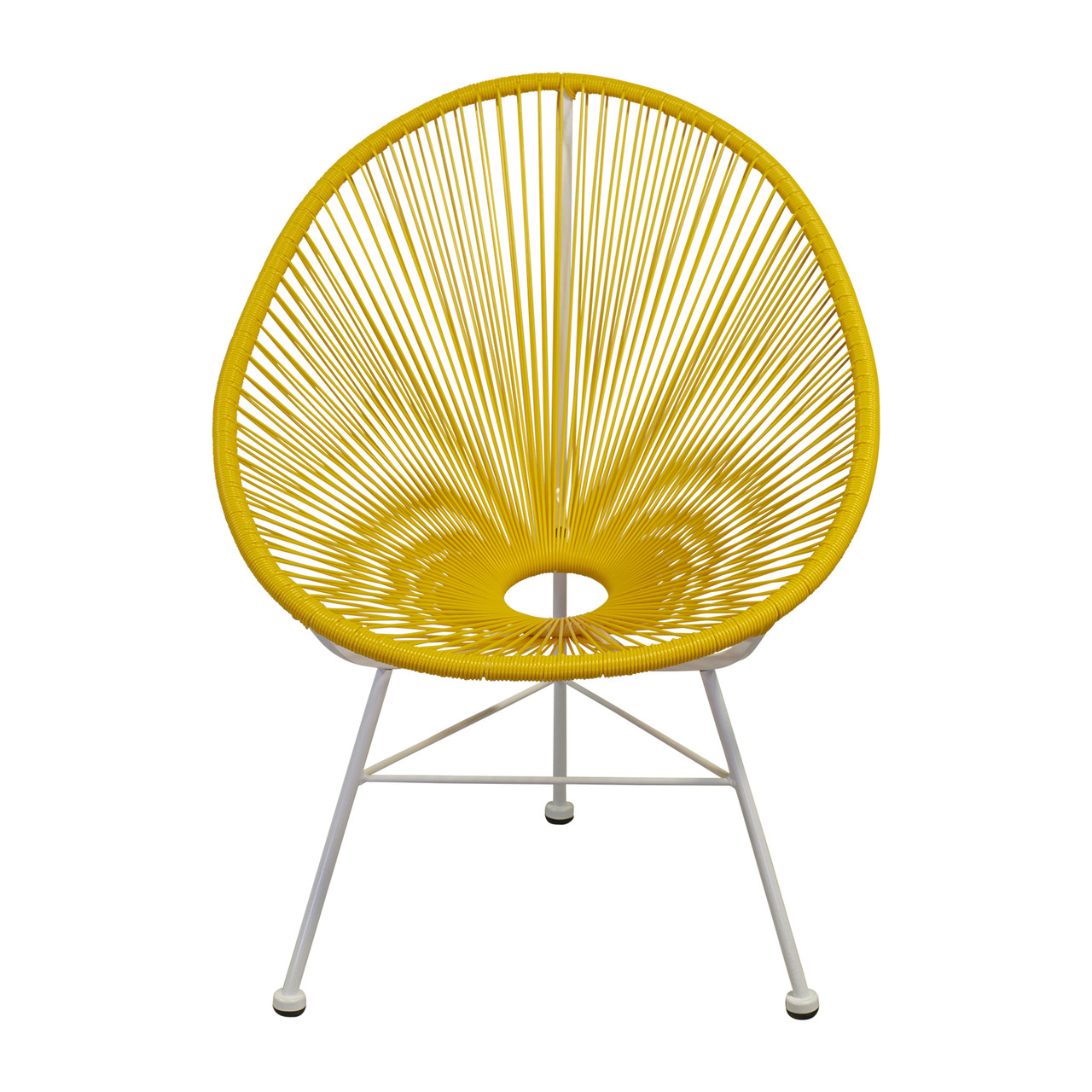 White Outdoor Lounge Chair Acapulco Indoor Outdoor Lounge Chair Yellow Weave On White Frame