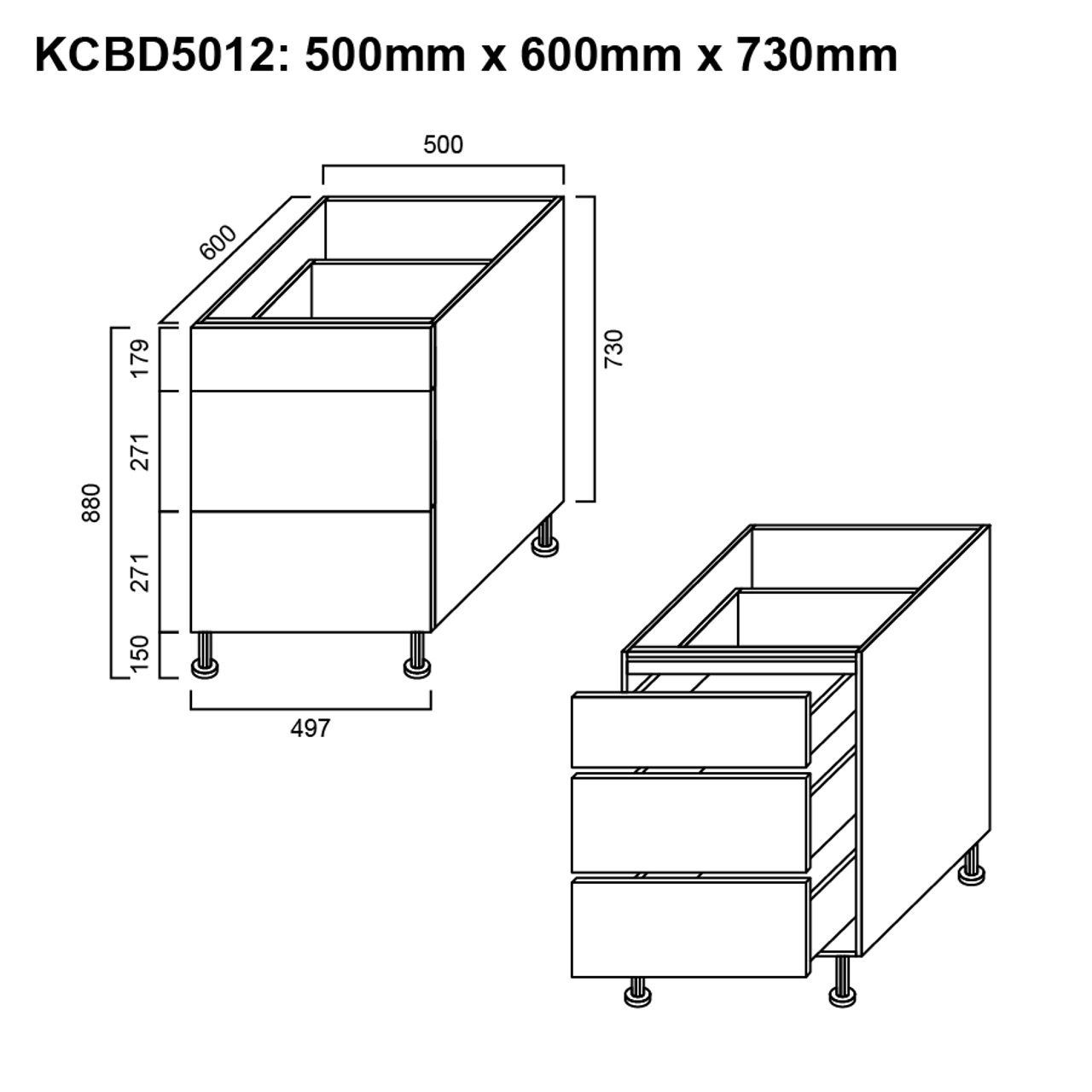 Base Cabinet 3 Drawer 500mm The Sink Warehouse Shop Now