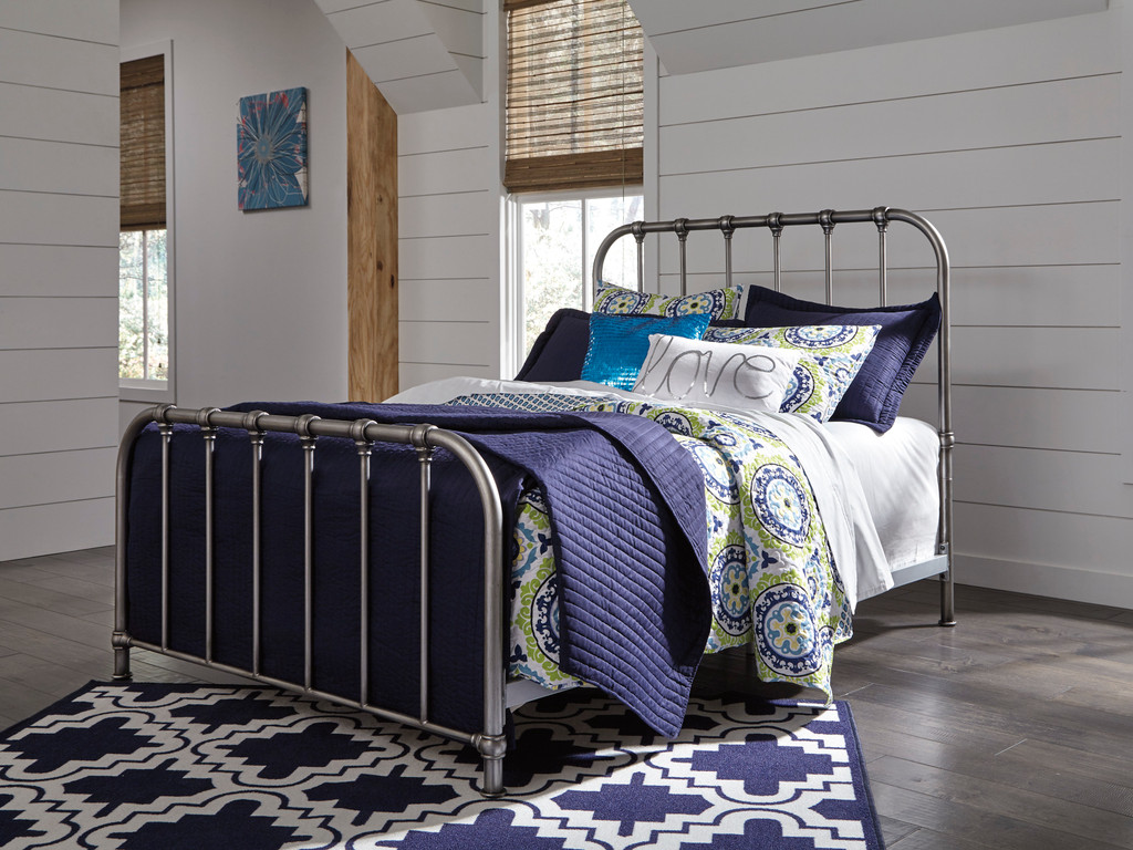 The Nashburg Silver Metal Bed Miami Direct Furniture