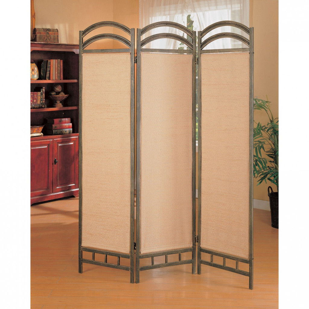 Screen Divider In Antique Gold Finish Miami Direct Furniture