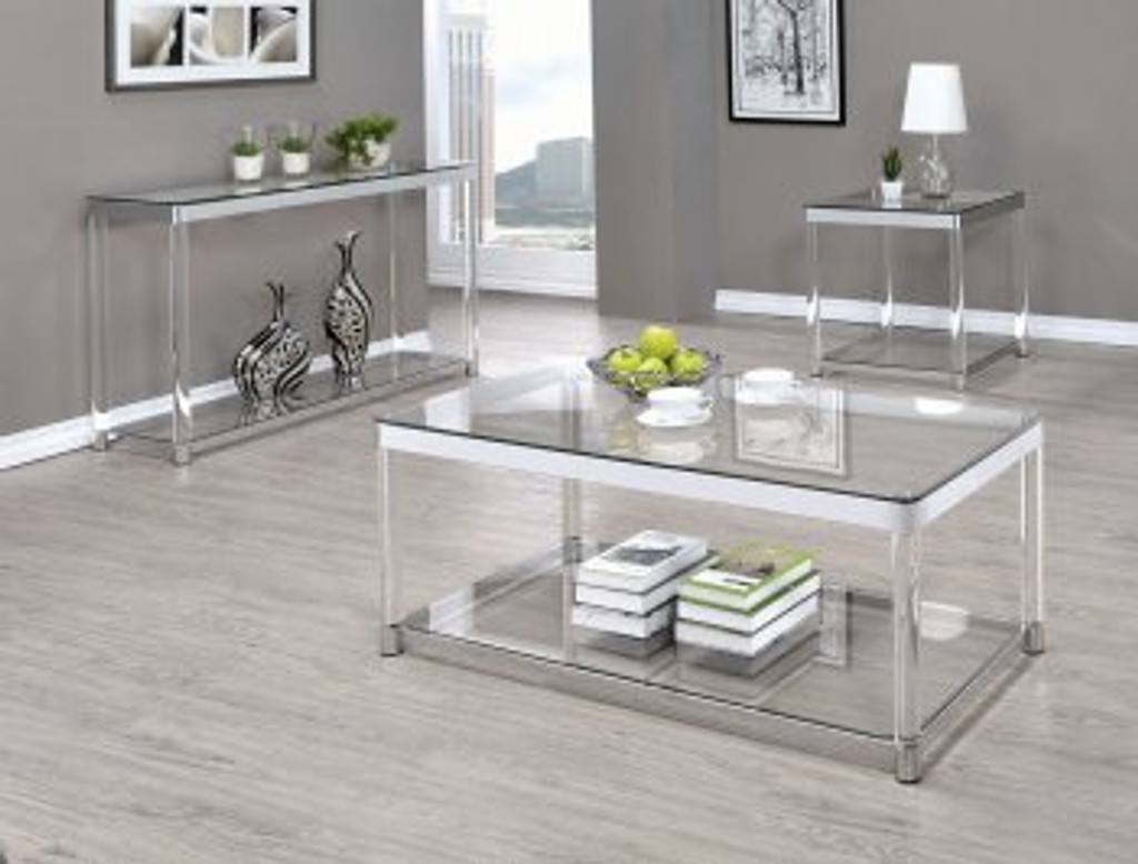 3pc melrose chrome glass top coffee table set