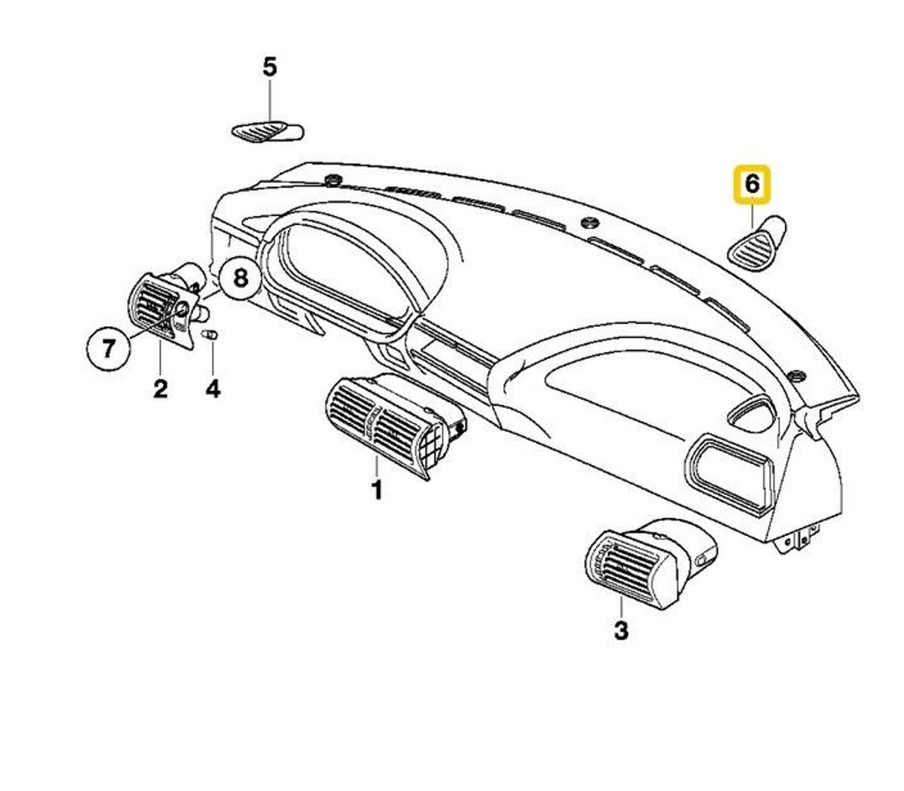 genuine bmw z3 instrument panel beige defroster nozzle right 96 02 64228399938 theis motorsport [ 1280 x 1120 Pixel ]