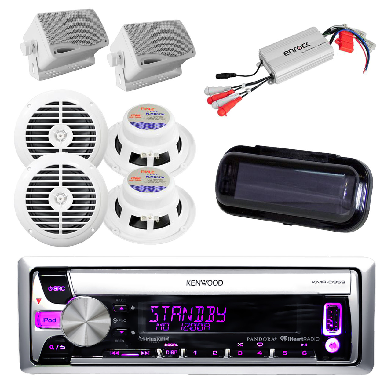 small resolution of kenwood kmr d358 cd aux usb radio w white round box speakers