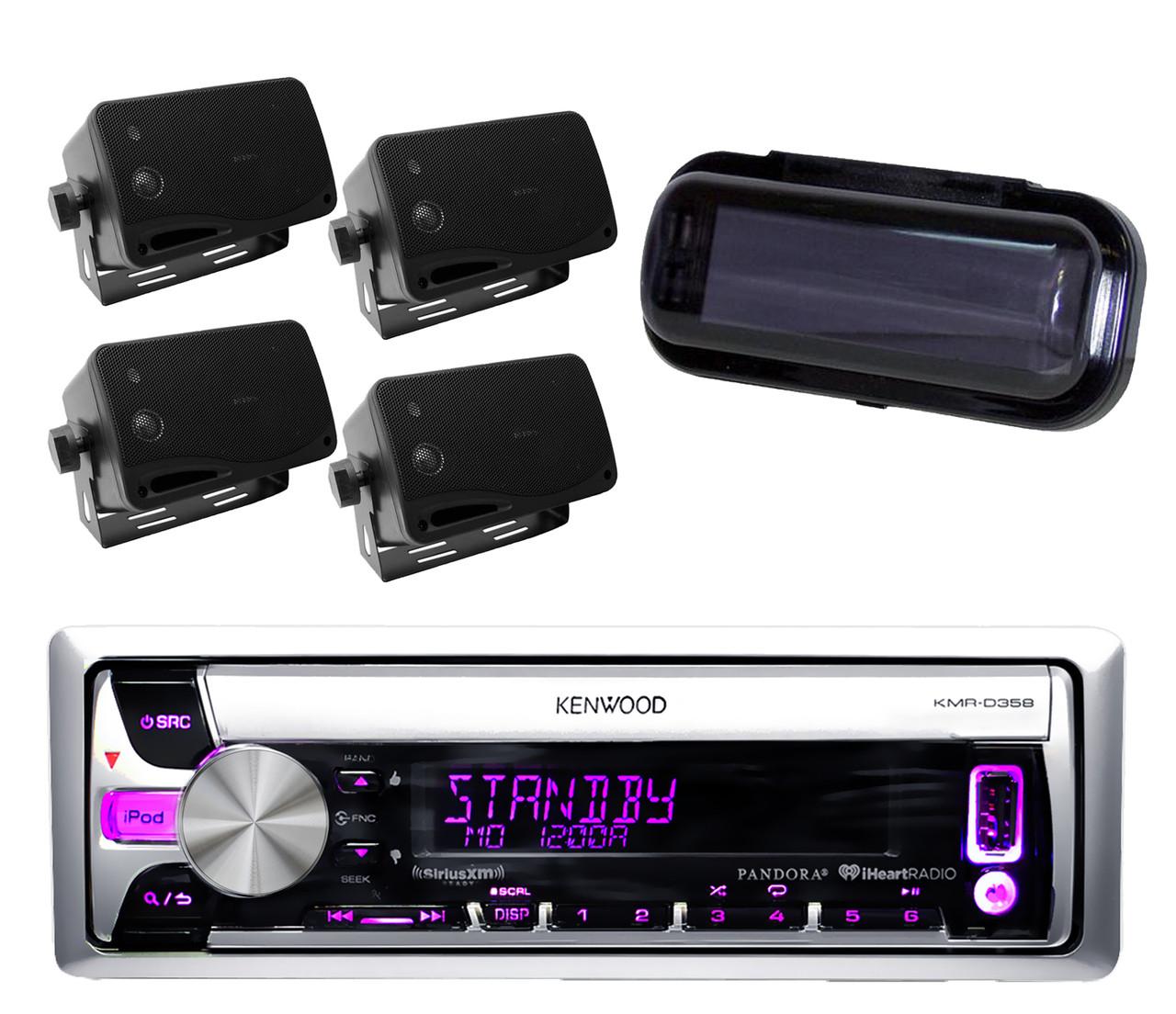 kenwood new kmr d358 iphone ipod pandora radio player 4 black box speakers  [ 1280 x 1104 Pixel ]