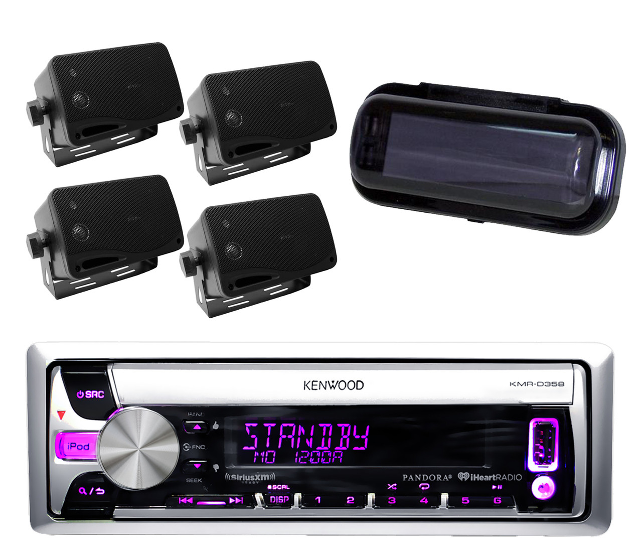 medium resolution of kenwood new kmr d358 iphone ipod pandora radio player 4 black box speakers