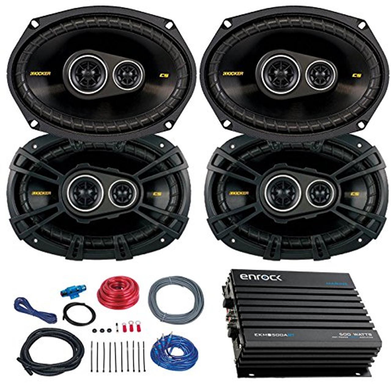 medium resolution of car speaker set with amplifier 4 kicker cs6934 6x9 inch 900 watt 4 ohm