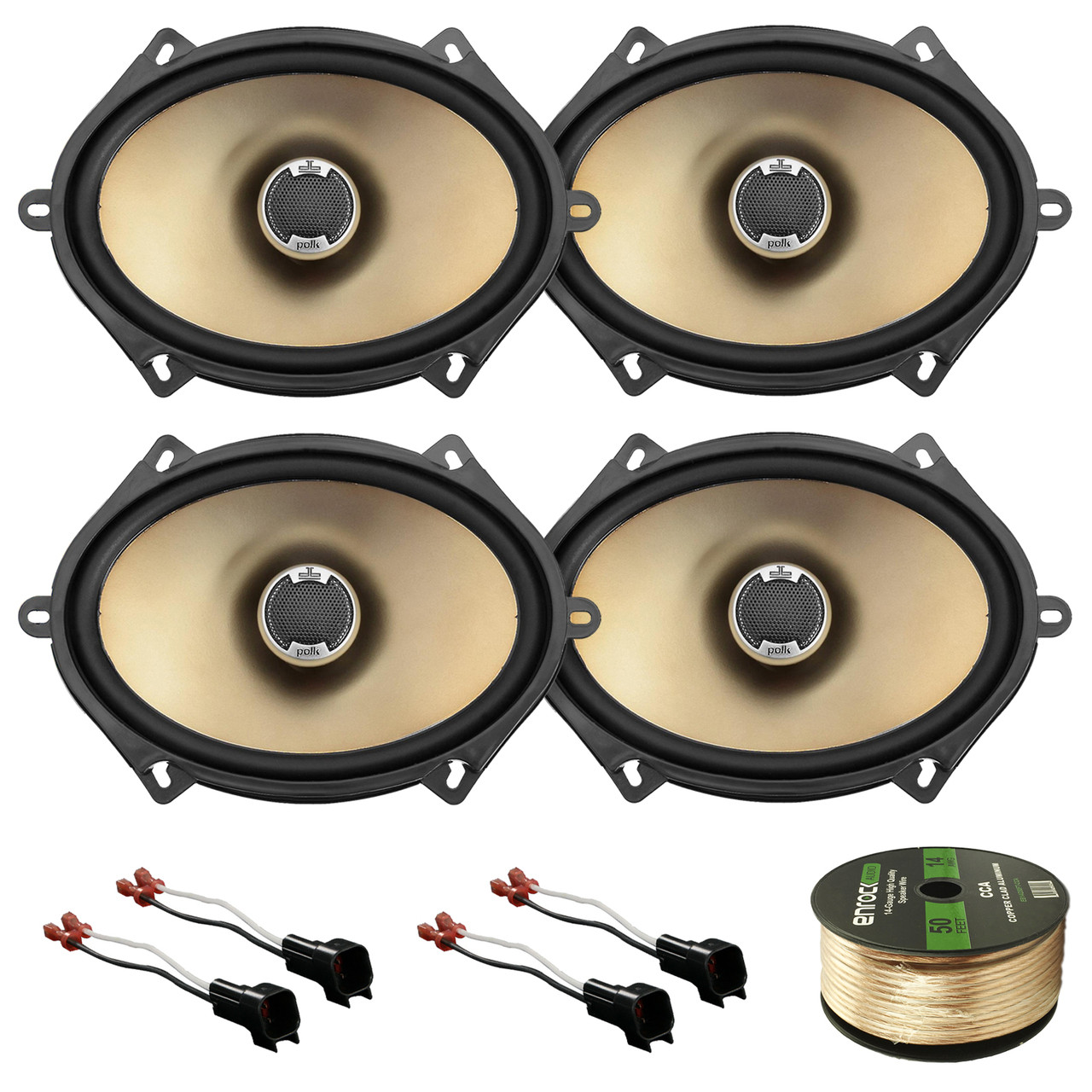 enrock 14 awg gauge 50 feet speaker wire 2 x db571 x new pair polk audio car audio 5 x 7 2 way car audio speakers 180 watts max  [ 1280 x 1280 Pixel ]
