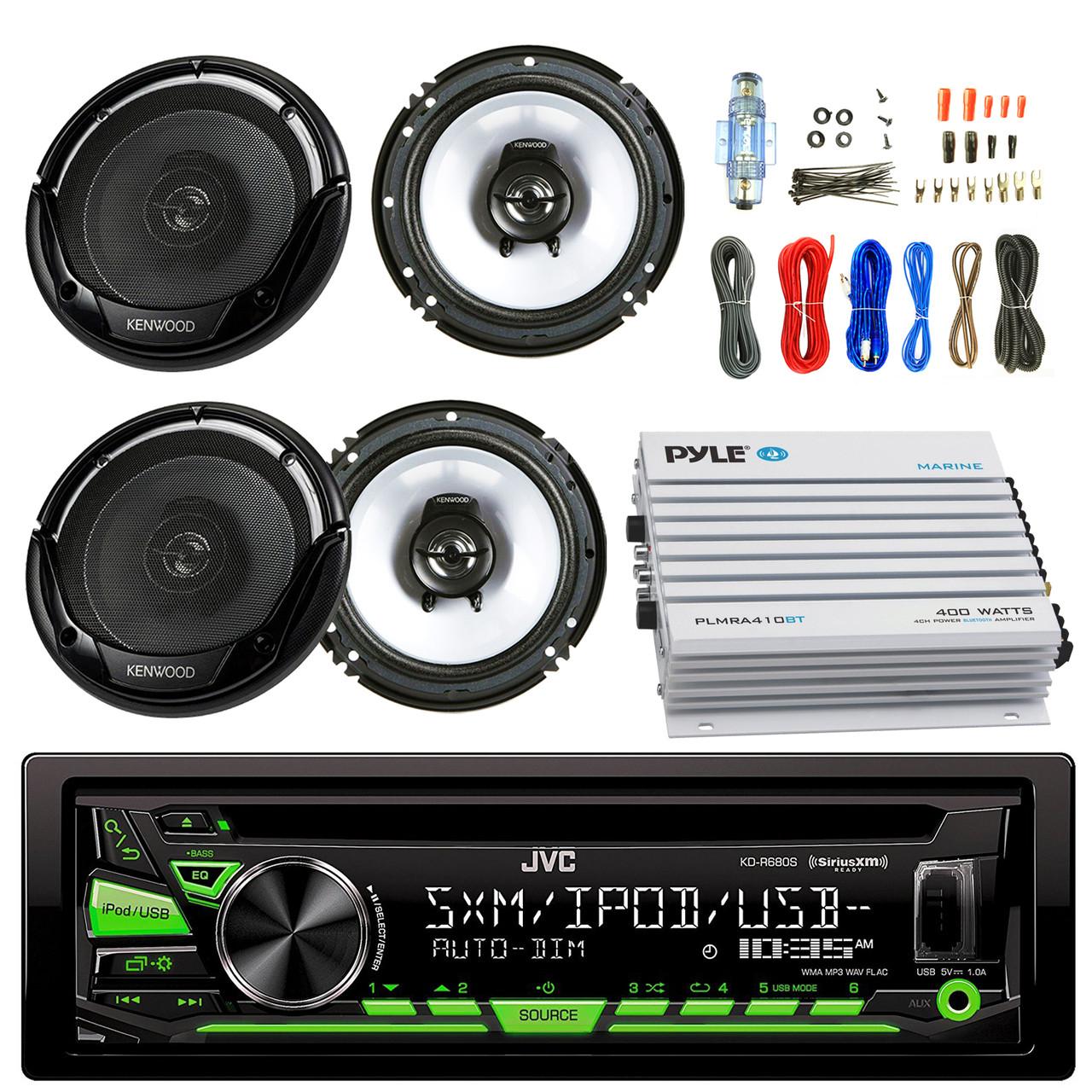 medium resolution of  aux radio bundle combo with 2x kenwood kfc1665s 6 5 inch 300 watt 2 way black car coaxial speakers 4 channel bluetooth amplifier amp install kit