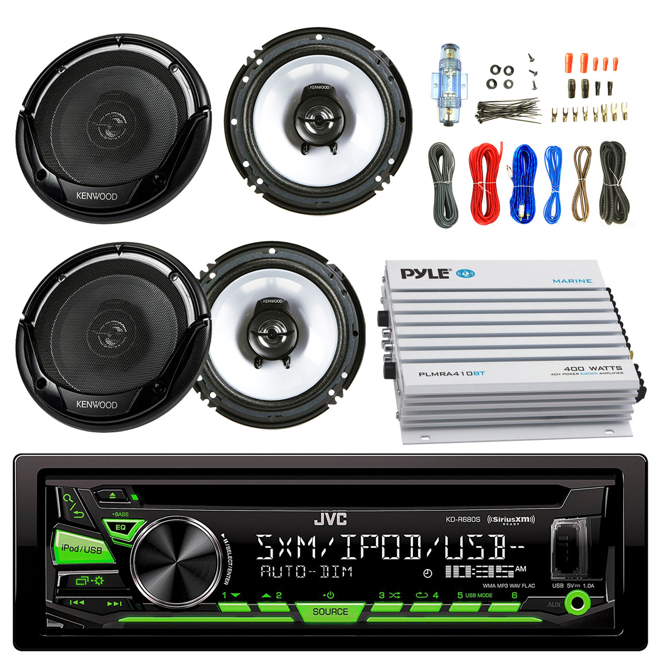 hight resolution of  aux radio bundle combo with 2x kenwood kfc1665s 6 5 inch 300 watt 2 way black car coaxial speakers 4 channel bluetooth amplifier amp install kit